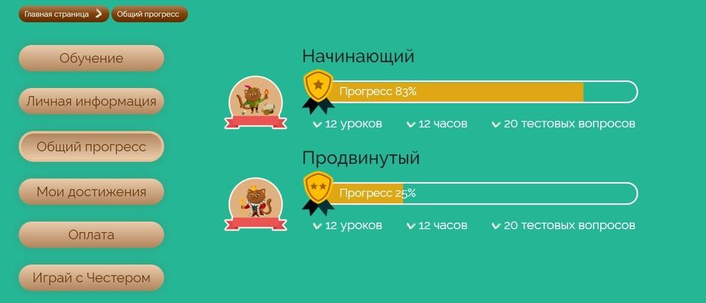 Шкала прогресса в ЛК каждого ученика